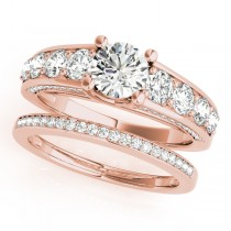 Trellis Diamond Engagement Ring Bridal Set 18k Rose Gold (3.00ct)