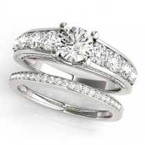 Trellis Diamond Engagement Ring Bridal Set 18k White Gold (3.00ct)