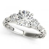 Vintage Heirloom Engagement Ring Bridal Set 14k White Gold (2.35ct)