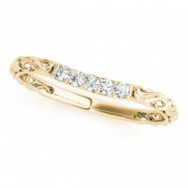 Vintage Heirloom Filigree Diamond Wedding Band 14k Yellow Gold (0.10ct)