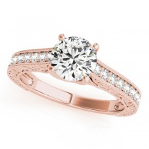 Vintage Round Cut Diamond Engagement Ring 18k Rose Gold (2.25ct)