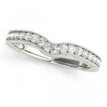 Vintage Contoured Diamond Wedding Band Platinum (0.25ct)