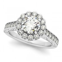 Diamond Halo Flower Engagement Ring in 14k White Gold (2.63ct)