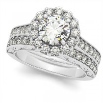 Diamond Halo Bridal Set w/ Flower Ring & Band 14k White Gold (2.96ct)