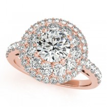Double Halo Round Cut Diamond Engagement Ring 18k Rose Gold (2.00ct)