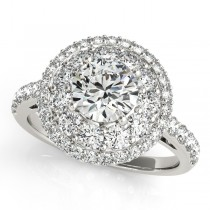 Double Halo Round Cut Diamond Engagement Ring Palladium (2.00ct)