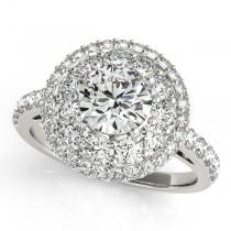 Double Halo Round Cut Diamond Engagement Ring Palladium (2.00ct)