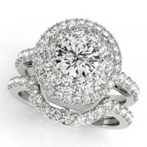 Double Halo Diamond Engagement Ring Bridal Set 18k White Gold (2.33ct)