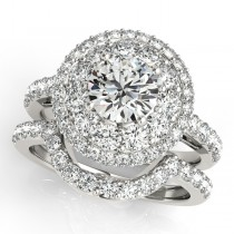 Double Halo Diamond Engagement Ring Bridal Set Palladium (2.33ct)