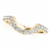 Pave Semi-Eternity Diamond Curved Wedding Band 14k Yellow Gold (0.33ct)