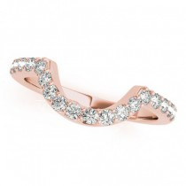 Pave Semi-Eternity Diamond Curved Wedding Band 18k Rose Gold (0.33ct)