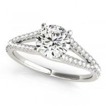 Lucidia Split Shank Multirow Engagement Ring 14k White Gold (1.18ct)