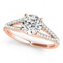 Lucidia Split Shank Multirow Engagement Ring 18k Rose Gold (1.18ct)