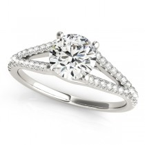 Lucidia Split Shank Multirow Engagement Ring 18k White Gold (1.18ct)