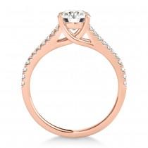 Lucidia Split Shank Multirow Engagement Ring 18k Rose Gold (0.18ct)