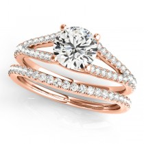 Lucidia Split Shank Multirow Bridal Set 14k Rose Gold (1.28ct)