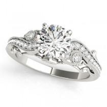 Vintage Swirl Diamond Engagement Ring Bridal Set 14k White Gold 2.25ct