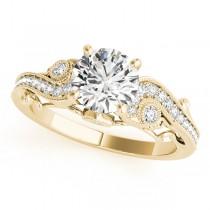 Vintage Swirl Diamond Engagement Ring Bridal Set 14k Yellow Gold 2.25ct