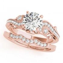 Vintage Swirl Diamond Engagement Ring Bridal Set 18k Rose Gold 2.25ct