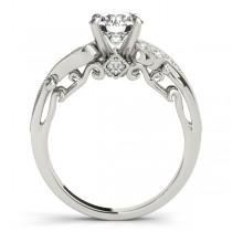 Vintage Swirl Diamond Engagement Ring Bridal Set 18k White Gold 2.25ct