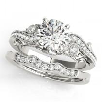 Vintage Swirl Diamond Engagement Ring Bridal Set Platinum (2.25ct)