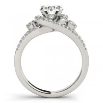 Split Shank Halo Diamond Engagement Ring Setting 14k White Gold 0.75ct