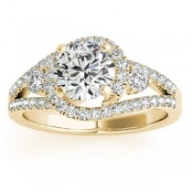 Split Shank Halo Diamond Engagement Ring Setting in 14k Y. Gold 0.75ct