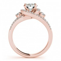 Diamond Split Shank Engagement Ring Twisted 18k Rose Gold (0.75ct)