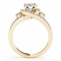 Diamond Split Shank Engagement Ring Twisted 18k Yellow Gold (0.75ct)