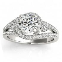 Diamond Split Shank Engagement Ring Twisted in Palladium (0.75ct)
