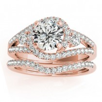 Diamond Split Shank Engagement Ring Setting & Band 18k Rose Gold 1.00ct