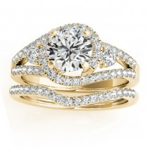 Diamond Split Shank Engagement Ring Setting & Band 18k Y. Gold 1.00ct