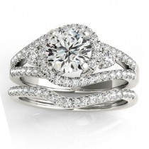 Diamond Split Shank Engagement Ring Setting & Band in Palladium 1.00ct