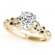 Round Solitaire Diamond Heart Engagement Ring 18k Yellow Gold (2.10ct)