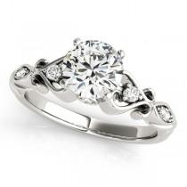 Round Solitaire Diamond Heart Engagement Ring Palladium (2.10ct)