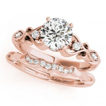 Round Diamond & Heart Engagement Ring Bridal Set 14k Rose Gold (2.15ct)