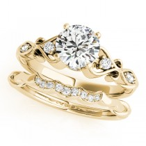 Round Diamond & Heart Engagement Ring Bridal Set 14k Yellow Gold (2.15ct)