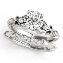 Round Diamond & Heart Engagement Ring Bridal Set Palladium (2.15ct)