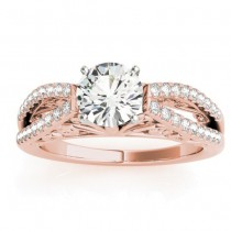 Diamond Split Shank Engagement Ring Setting 18K Rose Gold (0.27ct)