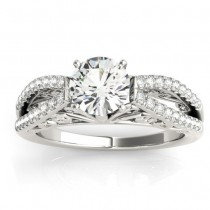 Diamond Split Shank Engagement Ring Setting 18K White Gold (0.27ct)