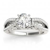 Diamond Split Shank Engagement Ring Setting 18K White Gold (0.27ct)