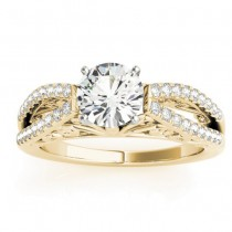 Diamond Split Shank Engagement Ring Setting 18K Yellow Gold (0.27ct)