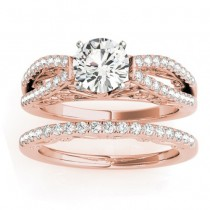 Diamond Split Shank Bridal Set Setting 14K Rose Gold (0.55ct)