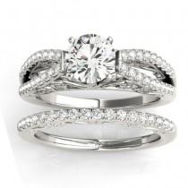 Diamond Split Shank Bridal Set Setting 14K White Gold (0.55ct)