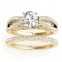 Diamond Split Shank Bridal Set Setting 14K Yellow Gold (0.55ct)