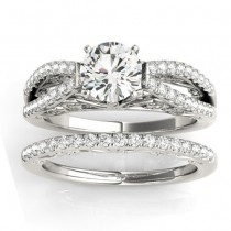 Diamond Split Shank Bridal Set Setting Palladium (0.55ct)