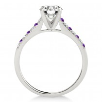 Diamond & Amethyst Single Row Engagement Ring 14k White Gold (0.11ct)