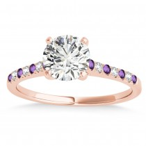 Diamond & Amethyst Single Row Engagement Ring 18k Rose Gold (0.11ct)