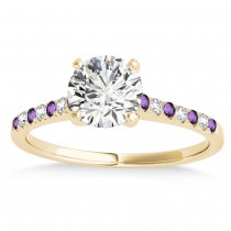 Diamond & Amethyst Single Row Engagement Ring 18k Yellow Gold (0.11ct)