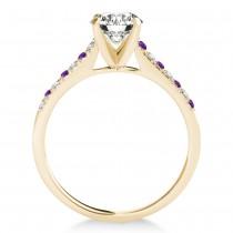 Diamond & Amethyst Single Row Engagement Ring 18k Yellow Gold (0.11ct)